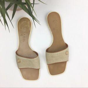 CHANEL Beige Canvas Logo Slide Sandals Size 38/8B
